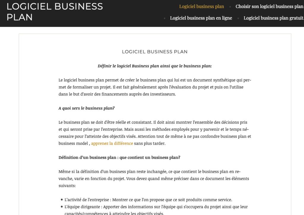 logiciel business plan gratuit